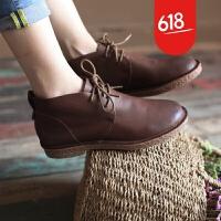 原创复古文艺古着头层牛皮真皮系带短靴女靴子真皮鞋休闲女鞋子GH073 深咖啡色