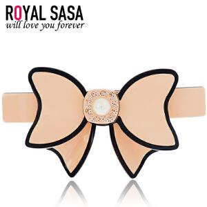 皇家莎莎RoyalSaSa韩版头饰品发卡顶夹 盘发夹人造水晶横夹发饰 马尾弹簧夹-恬心女孩