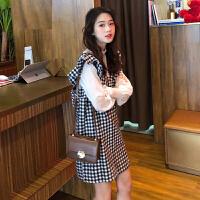 春装套装女气质2019新款韩版衬衫+格子背心裙裙子时尚网红两件套