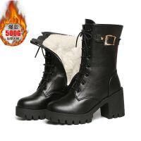 【软皮】冬季短靴女鞋粗跟中筒靴女马丁靴中跟加绒棉靴女靴子 黑色【保暖绒里】