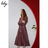 【25折到手价:279元】 Lily春新款女装商务CHIC条纹收腰长袖连衣裙119100C7271