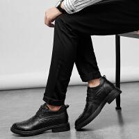 皮鞋男鞋新款低帮内增高商务皮鞋休闲鞋真皮黑色皮鞋小码码