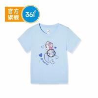 【商城同款】361度童装 女童短袖针织衫2021夏季新品中大童儿童短袖上衣