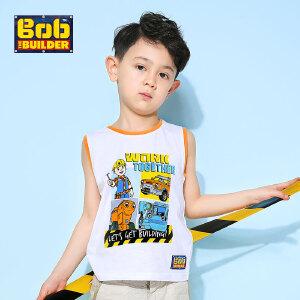 【满100减50】BOB巴布工程师童装男童夏装时尚圆领童趣印花纯棉无袖T恤背心