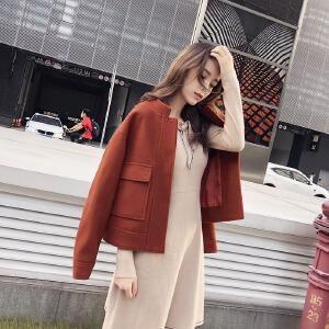 谜秀毛呢外套女短款2017冬装韩版修身呢子大衣小个子外套秋冬季潮