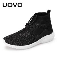 UOVO新款儿童高帮男童鞋秋季女中大童鞋运动鞋 韩版跑步鞋 米伦