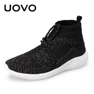 【下单立减100】 UOVO新款儿童高帮男童鞋秋季女中大童鞋运动鞋 韩版跑步鞋 米伦