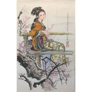 朝鲜水墨画 一级画家 李成民《柔情》【大千艺术品】