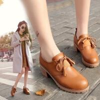 大东同款同款小皮鞋女春秋新款时尚韩版中跟复古百搭女鞋圆头粗跟单鞋