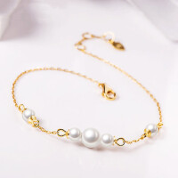 18k玫瑰金手链 淡水珍珠手链女细链 甜美时尚配饰