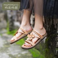 玛菲玛图波西米亚风2020夏新款凉鞋真皮英伦复古罗马女鞋外穿平底沙滩凉鞋0316-5