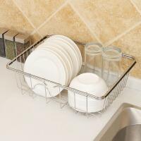沥水架 不锈钢洗菜盆伸缩果蔬水槽沥水篮碗碟收纳洗菜篮厨房水槽收纳架