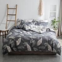 北欧全棉床上四件套简约纯棉灰色双人床单1.5m床被套单人宿舍学生 2.0m(6.6英尺)床 床单款