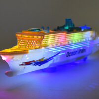 仿真船模型 儿童灯光音乐游轮万向电动玩具船