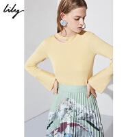 【25折到手价:139.75元】 Lily春新款女装不规则设计珍珠镂空薄款毛针织衫118420B8358