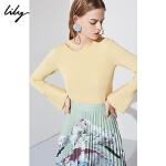 Lily春新款女装不规则设计珍珠镂空薄款毛针织衫118420B8358