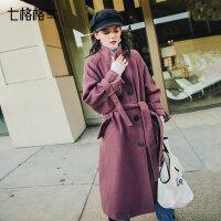 七格格秋冬毛呢外套女季中长款韩版2018新款学生宽松森系呢子大衣
