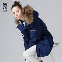 初语 秋季新品 毛领宽松民族织带拼接连帽棉衣大衣