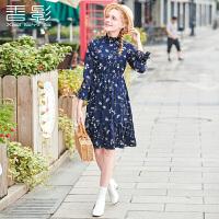印花连衣裙 香影2017冬装新款时尚修身女装收腰显瘦碎花连衣裙