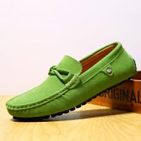 夏季真皮豆豆鞋圆头潮韩版休闲鞋皮鞋男士酒红色软底一脚蹬懒人鞋