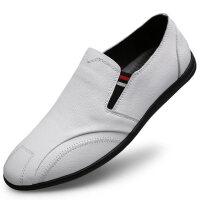 夏季时尚小白鞋男韩版白色休闲皮鞋潮男软底驾车鞋真皮百搭豆豆鞋