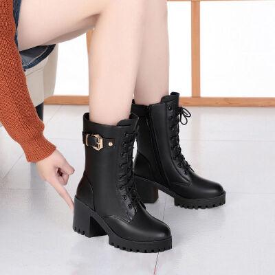 马丁靴女短靴英伦风靴子2019新款皮鞋粗跟高跟鞋秋冬加绒鞋子冬季