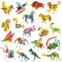 若态3D立体拼图 儿童木制益智力拼插拼装木质儿童拼图 玩具模型带颜料