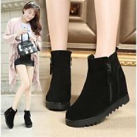 秋冬新款女鞋坡跟韩版内增高短靴女显瘦厚底百搭加棉马丁靴女靴子