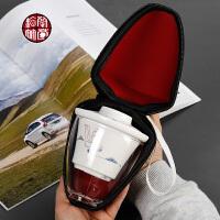 陶瓷快客旅行功夫茶具整套装玻璃一壶二杯迷你车载户外2人便携包