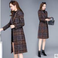 新款中�L款加厚�@瘦高端呢子大衣秋冬季千�B格子毛呢外套女