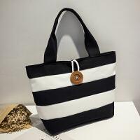 帆布包女包 休闲单肩包布袋包文艺手提布包购物袋大包大容量 黑色 H8626