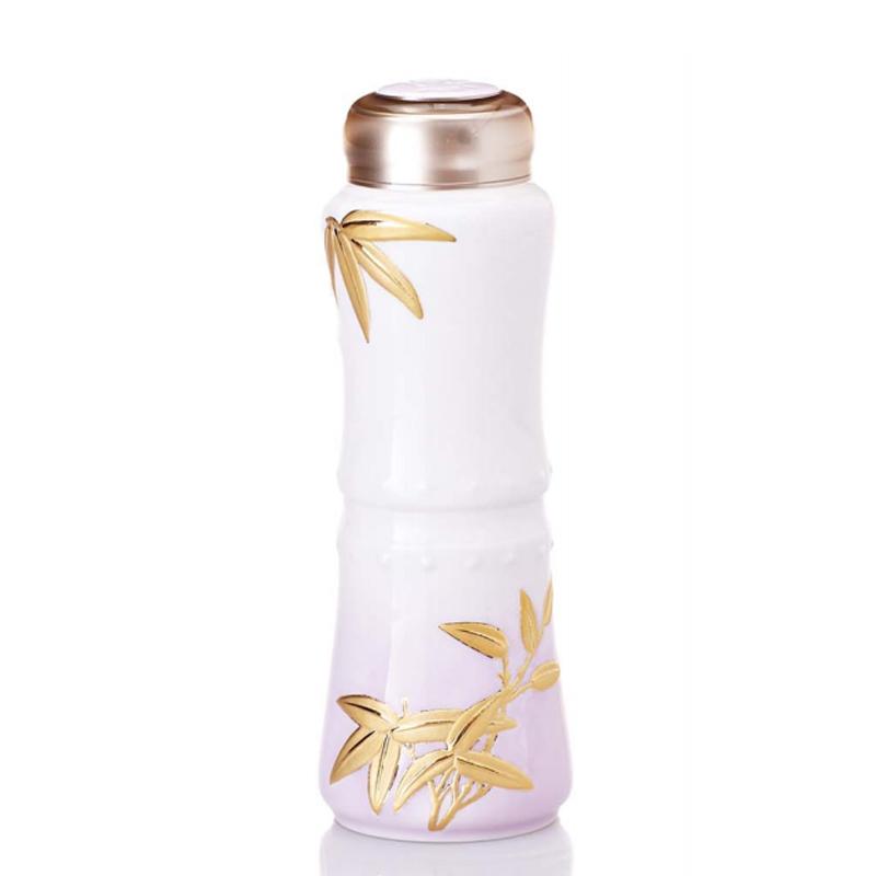 乾唐轩活瓷竹报平安一手瓶单层200ml创意陶瓷便携女水杯子