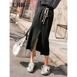 七格格黑色港味半身裙女2019新款春季韩版高腰中长款开叉一步裙子