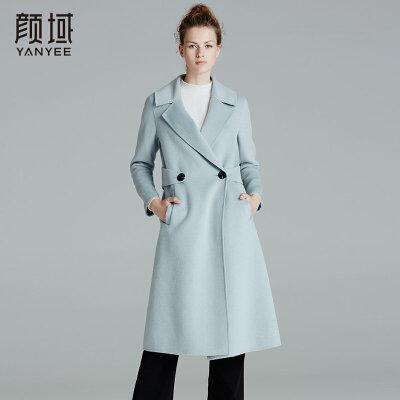 颜域品牌女装2017冬装新款欧美纯色品牌翻领双排扣双面呢羊毛大衣翻领设计,大气利落