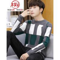 毛衣男韩版潮流学生秋冬季圆领线衣修身个性青少年帅气打底针织衫