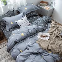 全棉纯棉床上四件套被套床单被单三件套床上用品格子男士简约 床单款三件套 0.9/1.2m床(被套150*2