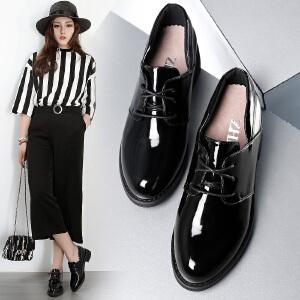 ZHR2018春季新款英伦风复古女鞋中跟粗跟单鞋学院风休闲鞋牛津鞋J18