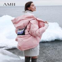 【开学季 预估券后价:538元】Amii极简oversize潮面包服90白鸭绒羽绒服女2019冬新连帽印花外套