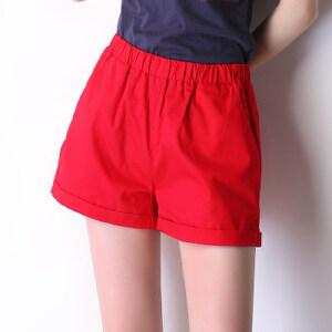 卡茗语夏季新品糖果色卷边短裤女宽松大码松紧腰裤子纯棉弹力三分裤