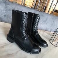 马丁靴女秋2019新款英伦风ins网红同款帅气机车靴黑色骑士中筒靴 黑色