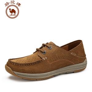 骆驼牌 春季新款时尚系带日常休闲男士皮鞋纯色轻盈透气 鞋