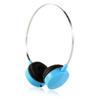 时尚便携线控头戴式耳机 多彩配色 清晰通透 立体声运动防汗耳机带麦 蓝色