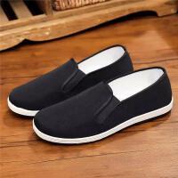老北京男夏季透气工作鞋开车鞋中老年休闲一脚蹬 黑底布鞋
