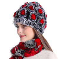 冬季獭兔毛帽子围巾一套女中年妇女时尚百搭妈妈婆婆老太太保暖帽