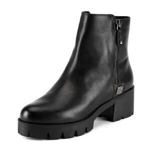 【3折到手价149.7元】ST&SAT星期六专柜女骑士靴牛皮英伦圆头休闲鞋SS54112988