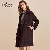 伊芙丽冬装新款韩版中长款宽松毛呢外套阿尔巴卡双面呢大衣女