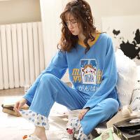 南极人家居服女睡衣棉质清新个性宽松休闲柔软舒适时尚长袖套装KH6154