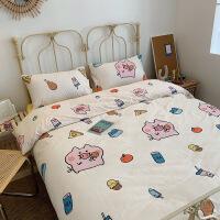 【人气】床上四件套儿童网红款全棉纯棉卡通可爱猪少女床单被套学生三件套 贪吃猪 白