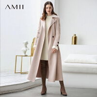 【券后价:1191元】Amii极简森系chic高端阿尔巴卡羊毛双面呢外套女2019冬新长款大衣