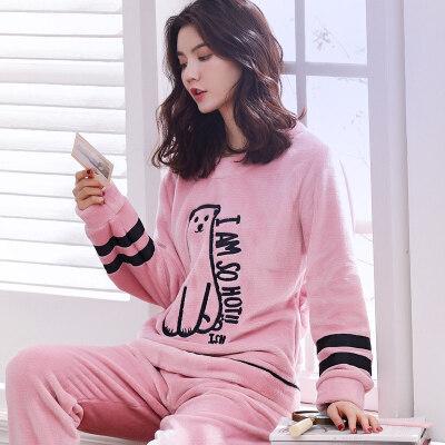 秋冬加绒睡衣女士法兰绒可爱卡通大码珊瑚绒长袖家居服女套装韩版 发货周期:一般在付款后2-90天左右发货,具体发货时间请以与客服协商的时间为准
